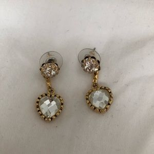 Betsy Johnson short dangle heart earrings